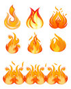 Abstract style fire icon set illustration Stock Image