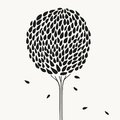 Abstract stylized hand drawn tree vector illustration Royalty Free Stock Photo