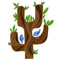 Abstract stylized tree with songbird isolated vector illustration clipart Stock Photo