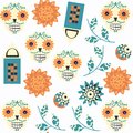 Abstract sugar fantasy skulls seamless pattern. It is located in