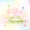 Abstract summer background with butterflies