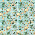Abstract summer geometric seamless pattern. Watercolor palm tree, circles background. Water color floral, minimal elements. Hand p Royalty Free Stock Photo