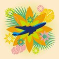 Abstract summer travel illustration composition with airplane and flowers vector Stock Photography