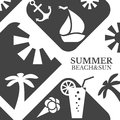Abstract summer vector menu illustration beach and sun concept design black and white colors hot tropical recreation poster travel Stock Photo