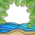 Abstract summer watercolor sea wave, sand beach, palm leaves background