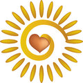 Abstract sun with heart illustration of golden red in center white background Royalty Free Stock Image