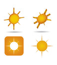 Abstract sun icon set on white background Royalty Free Stock Photo