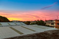 Abstract sunrise sky over roof top Royalty Free Stock Photo
