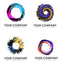 Abstract swirl business logos set of four colorful round Stock Photos