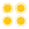 Abstract symbols of the sun vector collection icons design elements emblem set children s drawings hatching Royalty Free Stock Photo