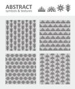 Abstract symbols and textures four gray seamless Royalty Free Stock Photos