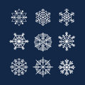 Abstract symmetry winter snowflakes collection Stock Photo