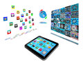 Abstract tablet with colored icons for designers for various necessities Royalty Free Stock Image