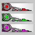 Abstract tech banners vector three color schemes Royalty Free Stock Photography