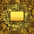 Abstract techno background with Zen-doodle texture in gold colors Royalty Free Stock Photo