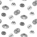 Abstract techno shapes seamless vector pattern. Royalty Free Stock Photo
