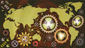 Abstract technological background with world map and machine gear mechanisms of red, green, orange, lilac and white shades