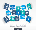 Abstract technology background connected color puzzles integrated flat icons d infographic concept with technology cloud computing Royalty Free Stock Image