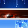Abstract technology banners three business for design Stock Photo