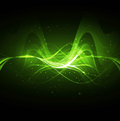 Abstract technology bright green wave Stock Photo