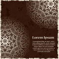Abstract template of card. Frame pattern invitation with place for text. Lace ornament, mandala. Arabic, Islam design elements. Ve Royalty Free Stock Photo