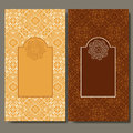 Abstract template set of cards. Frame pattern invitation with place for text. Lace ornament, mandala. Arabic, Islam design element
