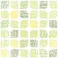 Abstract textile green rounded squares seamless vector pattern background Royalty Free Stock Images