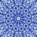 Decorative abstract textile Snowflake Ornament in russian traditional blue colors of gzhel with effect of embroidery richelieu