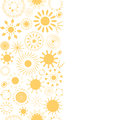Abstract textile yellow suns geometric vertical seamless pattern background