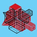 Abstract three-dimensional shape, vector design cube element. Royalty Free Stock Photo