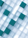 Abstract transparent and blue cubes on a white Royalty Free Stock Images