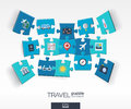 Abstract travel background with connected color puzzles, integrated flat icons. 3d infographic concept with Airplan, luggage,
