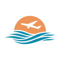 Abstract travel logo with aircraft and ocean.
