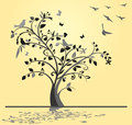 Abstract tree birds butterflies yellow background Stock Images