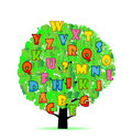 Abstract tree with colorful letters  on White background. Royalty Free Stock Photo