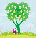 Abstract tree with easter eggs illustration Stock Image