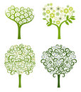 Abstract tree with flowers, vector set Royalty Free Stock Photography