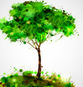 Abstract tree green forming by blots Stock Photo