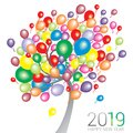 Abstract tree with multi color balloons with the text Happy New Year 2019