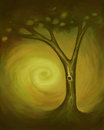 Abstract tree an painting of a with a swirl background digital painting Stock Image