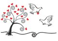 Abstract tree with,pigeon,heart