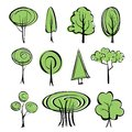 Abstract trees sketch set collection cartoon vector illustration Stock Photos