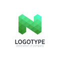 Abstract trend polygon letter N logo design template.