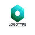 Abstract trend polygon letter O logo design template.