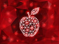 Abstract triangle apple with background illustration of in red and white colors Stock Images