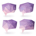 Abstract triangle speech bubbles textured in pastel purple and pink colors Stock Photography