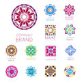 Abstract triangular polygonal shape kaleidoscope geometry company brand logo badge template circle decorative vector