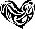 Abstract tribal heart shaped artwork against white background Stock Image