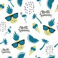 ABSTRACT TROPICAL HAND DRAW COMPOSITION OF SUMMER FEELING SEAMLESS VECTOR PATTERN.