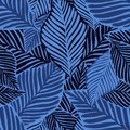 Abstract tropical pattern, palm leaves seamless floral background